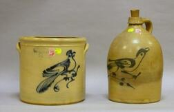 Haxton, Ottman & Co. Cobalt Bird on a Branch Decorated Two-Gallon Stoneware Crock and a Similarly Decorated Jug.