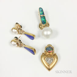 Three Pieces of Gold and Opal Jewelry