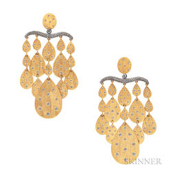 18kt Gold Disc Diamond Earrings, Umrao