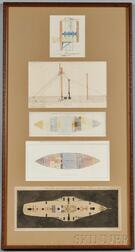 Five Pages Framed Together Showing the Plans of the HMS Vixen