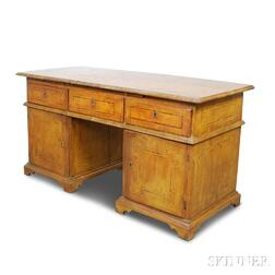 Italian Fruitwood Double-pedestal Desk with Geometric Inlay