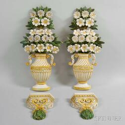 Pair of Polychrome Terra-cotta Flowering Urn Wall Plaques
