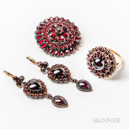 Three Victorian Pieces of Garnet Jewelry