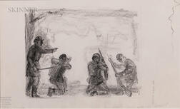 John Steuart Curry (American, 1897-1946), The regiment was like a firework ignited, A Double-sided Sketch for The Red Badge of Courage