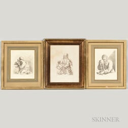 Francesco Bartolozzi (Italian, 1727-1815)    Three Framed Etchings After Works by Guercino.