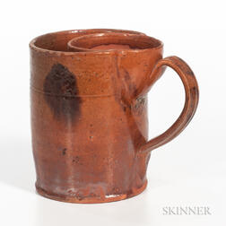 Glazed Redware Shaving Mug