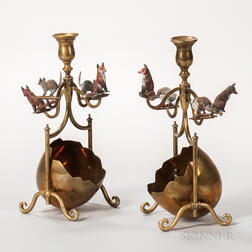 Pair of Whimsical Austrian Cold-painted Bronze and Brass Candlesticks