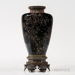 Large Cloisonne Vase and Stand
