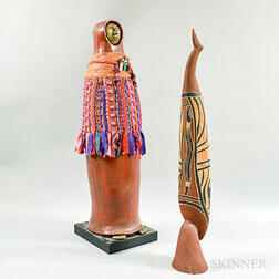 Contemporary Zuni Carved and Painted Water Maiden and a Bird