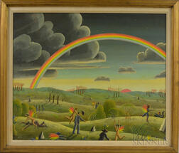 Thomas Frederick McKnight (American, b. 1941)      Allegorical Scene with Winged Figures Accosting Men Beneath a Rainbow.
