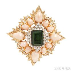 18kt Gold, Green Tourmaline, and Coral Clip Brooch, Montclair