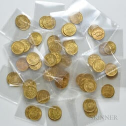 Fifty-four German 20 Mark Gold Coins