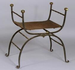 Italian Renaissance-style Wrought Metal, Brass, and Leather Curule-form Armchair