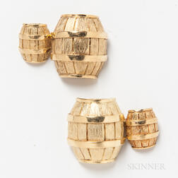 Pair of Cartier 18kt Gold Barrel Cuff Links