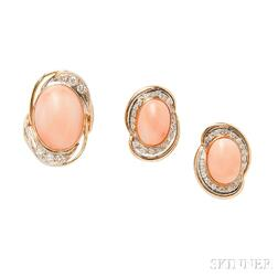 14kt Gold, Angelskin Coral, and Diamond Earrings and Ring