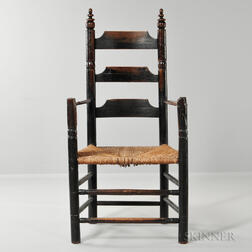 Early Black-painted Three-slat Great Chair