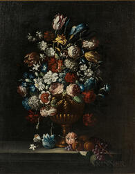 Dutch School, 17th Century Style      Still Life with Flowers, Fruit, and Butterfly