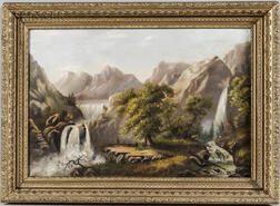 American School, 19th Century      Majestic Landscape with Native Americans