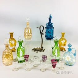 Eight Colored Glass Decanters and Nine Cordials