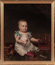 American School, Mid-19th Century      Portrait of a Child with a Rattle