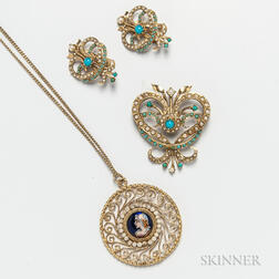 14kt Gold, Turquoise, and Split Pearl Suite and 14kt Gold Limoges Pendant