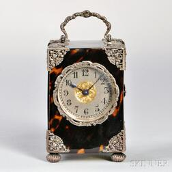 Miniature Tortoiseshell and Silver Carriage Clock