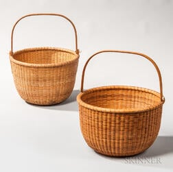 Two Large Round Swing-handle Nantucket Baskets