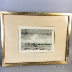 Two Small Framed Works:    British School, 19th Century, Ships and Seamen on the Shore