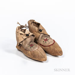 Pair of Apache Child's Hide Moccasins