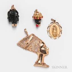 14kt Gold Nefertiti Pendant and Three Gold Charms