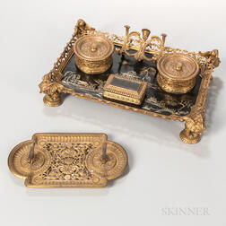 Dore Bronze and Chinoiserie Decorated Wood Inkstand and Pen Holder