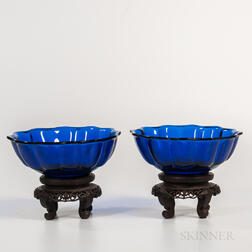 Pair of Cobalt Blue Peking Glass Bowls
