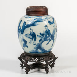 Small Blue and White Ginger Jar and Wood Cover