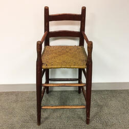 Early Red-painted Pine Slat-back High Chair