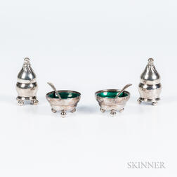 Two Sets of Georg Jensen Sterling Silver Pepper Shakers and Open Salts