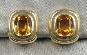 14kt Gold and Citrine Earclips