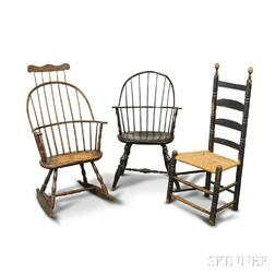Two Windsor Armchairs and a Slat-back Side Chair.     Estimate $20-200