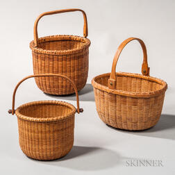 Three Swing-handle Nantucket Baskets
