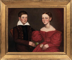 American School, Early 19th Century      Portrait of a Sister and Brother