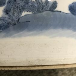 Large Blue and White Brush Pot