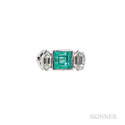 Platinum, Emerald, and Diamond Ring