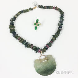 18kt Gold and Jadeite Ring and a Jadeite and Tourmaline Bead Necklace with Carved Jadeite Pendant