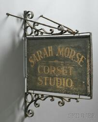 """Painted and Gilded Wood and Wrought Iron """"SARAH MORSE CORSET STUDIO"""" Trade Sign"""