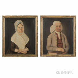 John Brewster, Jr. (Connecticut/Maine, 1766-1854), Pair of Portraits of Deacon Benjamin Titcomb (1726-1798) and his wife Anne Pearson T