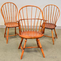Sack-back Windsor and Two Bamboo-turned Bow-back Windsor Side Chairs.     Estimate $300-500