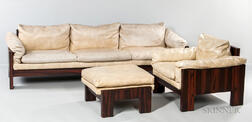 Milo Baughman for Thayer Coggin Rosewood Veneer Sofa Chair and Ottoman