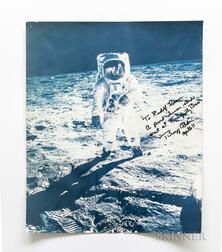 Apollo 11, Buzz Aldrin at Tranquility Base, July 11, 1969, Large-Format Photograph Signed by Aldrin.