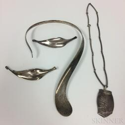 Four Pieces of Modern Silver Jewelry