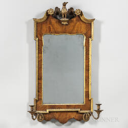 George III Parcel-gilt and Walnut-veneered Mirror