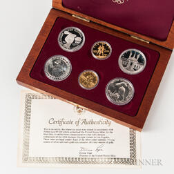 Cased 1983 and 1984 Los Angeles Olympics Commemorative Six-coin Set